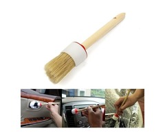 Wooden Handle Wax Brush Round Paint Chalk Oil Bristle Tool Kit for Coating Clearning