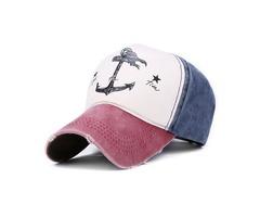 Unisex Men Women Cotton Blend Washed Anchors Printed Baseball Cap Adjustable Snapback Hat