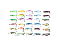 30pcs Assorted Spinner Baits Metal Fishing Lure Minnow Poper Baits Bass