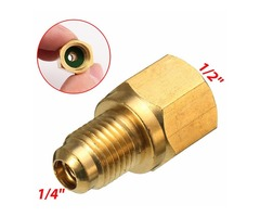 Brass R134a Refrigerant Tank 1/2Inch Female x 1/4Inch Male Flare A/C Fitting Adapter