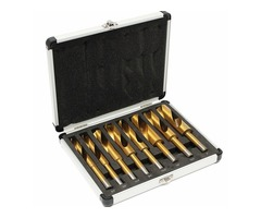 8pcs 9/16 to 1 Inch Titanium Coated Twist Drill Bits Straight Shank with Aluminum Box