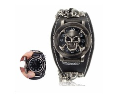 Vintage Punk Gothic Skull Case Leather Band Men Bracelet Quartz Wrist Watch