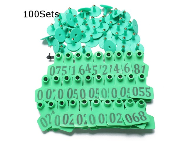 100Sets Green Animals CattleGoat Pig Sheep Use Ear Number Tag Livestock Tags Labels | FreeAds.info