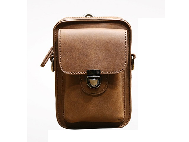 7inch Cell Phone Waist Bag Men Retro PU Leather Waist Bag Crossbody Bag | FreeAds.info