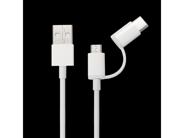 Original Xiaomi 30CM 2 in 1 Type-C and Micro USB Cable for Mobile Phone | FreeAds.info