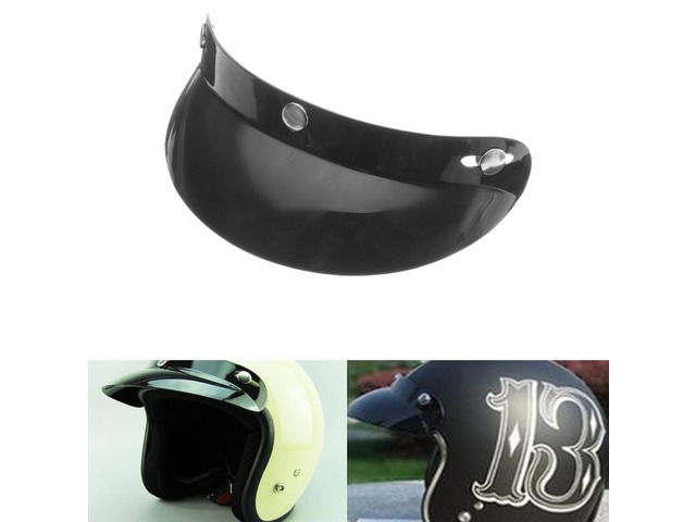 Universal Black 3 Snap Buttons Visor Shield Lens For Motorcycle Open Face Helmets 27cm/10.6in | FreeAds.info