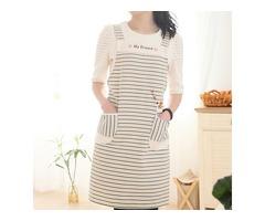 Household Kitchen Fashion Women Oil Prevention Polyester Sleeveless Striped Canvas Apron