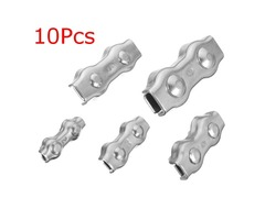 10Pcs Stainless Steel Duplex Clip Wire Cable Rope Grips Clamps Caliper 2mm-6mm