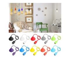 E27/E26 1M Silicone Home Ceiling Pendant Light Bulb Holder Hanging Lamp Socket Fixture