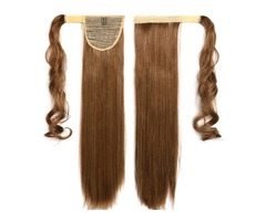 Wrap Around Clip In Magic Paste Ponytail Hair Extensions Long Straight Pony Tail