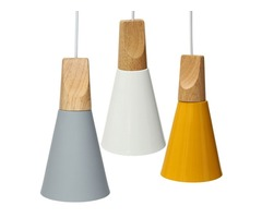Vintage Wooden European Style Lampshade Pendant Lamp Aluminum Ceiling Light Lamp Shades