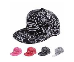 Mens Women Hip-Hop Baseball Flat Bill Hat Graffiti Hippie Snapback Adjustable Cap