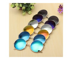 Women Men Retro Large Round Metal Frame Sunglasses Men Color Film Glasses