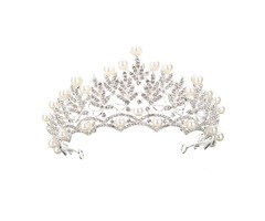 Wedding Bridal Crystal Rhinstone Pearl Silver Queen Crown Tiara Hair Accessories Headbrand