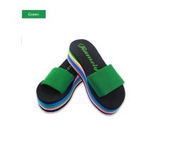 Women Casual Flip Flops Foam Beach Sandals Rainbow High Platform Wedge Slipper Shoes