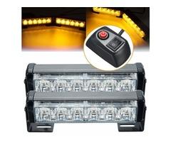 Pair 6 LED Amber Car Flashing Emergency Warning Light Strobe Lamp Switch Harness