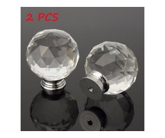 2Pcs 50mm Clear Crystal Glass Door Handle Knobs for Drawer Cabinet Furniture