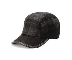Unisex Woolen Earflap Ear Muffs Baseball Cap Adjustable Grid Fleece Lining Golf Outdoor Hat