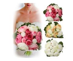 13Heads Artificial Silk Jasmine Flowers Bride Bouquet Wedding Home Decoration