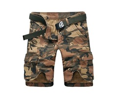Mens Camouflage Multi Pocket Knee-length Casual Cotton Summer Cargo Shorts