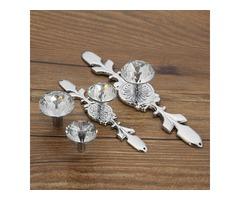 Glass Diamond Crystal Wardrobe Drawer Cabinet Pull Handle Knobs