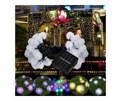 5M 20LED Dandelion Ball Solar Christmas Party Decor Outdoor Fairy String Light Lamp