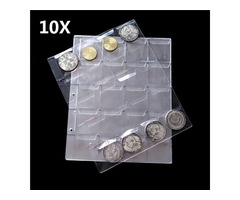 10pcs Classic Punched Pages 20 Pockets 40mm Coin Holder Collection Album Case
