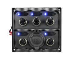 Marine 5 Gang LED Toggle Switch Panel Power Socket Waterproof For Caravan RV Boat