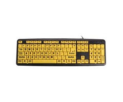 Large Print USB Computer Keyboard High Contrast Yellow Keys Black Letter for Elder