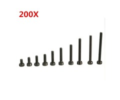 Suleve™ M2CH1 M2 Carbon Steel Allen Bolt 3-20mm Hex Socket Cap Screw Metric Assortment Kit 200pcs