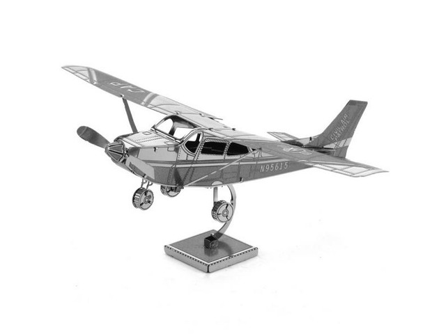 Aipin DIY 3D Puzzle Stainless Steel Model Kit Cessna Skyhawk Silver Color | FreeAds.info