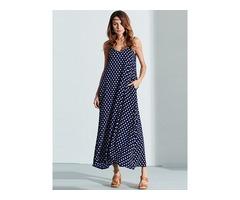 V-Neck Strap Dot Backless Pockets Dresses