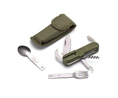 Outdooors Tableware Stainless Folding Camping Tool Multifunction Dinnerware