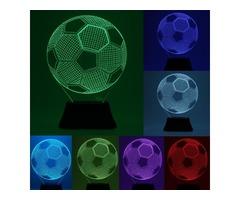 3D Bulbing Football Soccer Night 7 Multicolor Changeing LED Desk Table Light Lamp