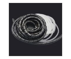 14m 23m PE Polyethylene Spiral Cable Wire Wrap Tube Organizer Cord Black White