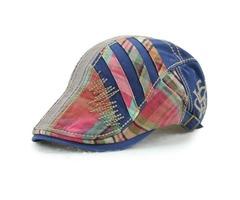 Cotton Stripe Washed Beret Hat Buckle Newsboy Cabbie