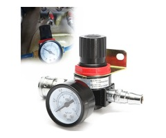 1/4inch Air Pressure Regulator Relief Quick Release Compressor with Gauge Hose