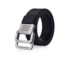 120CM Men Nylon Double Ring Alloy Buckle Belt