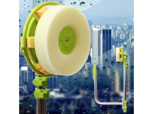 Window Cleaning Brush Tool Glass Scraper Cleaner Sponage Brush Head Cloth Retractable Pole | FreeAds.info