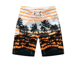 Mens Fashion Coconut Trees Printing Casual Losse Quick Drying Polyester Summer Beach Shorts