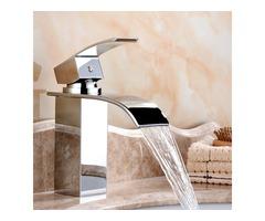 Bathroom Waterfall Sink Faucet Single-lever Mixer Tap Deck Mount Vanity Vessel Mixer Tap Hot Cold Br