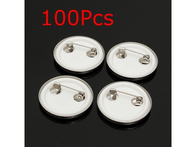 100Pcs 25mm Tinplate Pin Badge Button Part for Pro Maker Machine   FreeAds.info