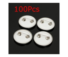 100Pcs 25mm Tinplate Pin Badge Button Part for Pro Maker Machine
