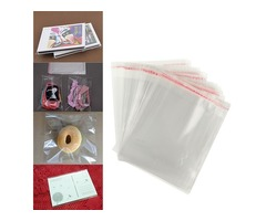 100pcs 12×16cm Clear Cellophane Display Bags Self Adhesive Seal Plastic  For Card