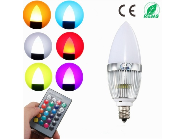 E12 Candelabra Candle Stick 3W LED Light Bulb White Warm RGB Tea Landle Lamp 85-265V | FreeAds.info
