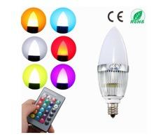 E12 Candelabra Candle Stick 3W LED Light Bulb White Warm RGB Tea Landle Lamp 85-265V   FreeAds.info