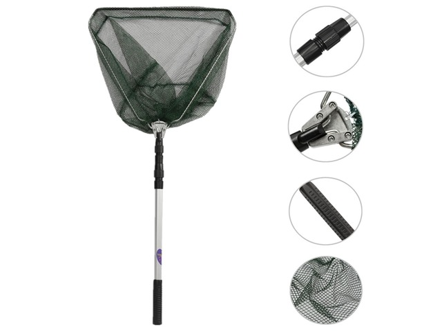 Portable Triangular Folding Fishing Landing Net 3 Section Extending Pole Handle | FreeAds.info