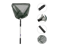 Portable Triangular Folding Fishing Landing Net 3 Section Extending Pole Handle