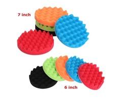 5pcs 6/7 Inch Sponge Waffle Polishing Foam Buffing Pads Kit for Car polisher