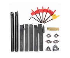 7pcs 12mm Shank Lathe Turning Tool Holder Boring Bar with 7pcs Carbide Insert and Wrench